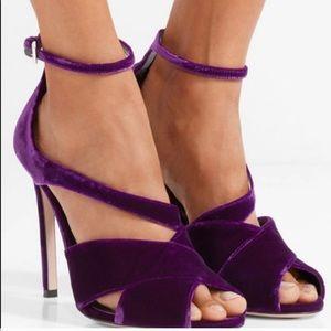 Prada purple velvet strappy slingback sandals IT38
